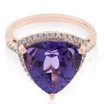 Rose Gold Trilliant Amethyst & Diamond Ring 14K