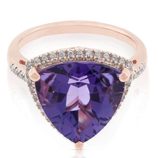 Trilliant Amethyst & Diamond Ring 14K