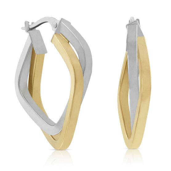 Toscano Collection Two-Tone Squared Hoop 18K