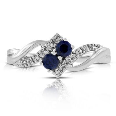 Double Sapphire & Diamond Ring 14K