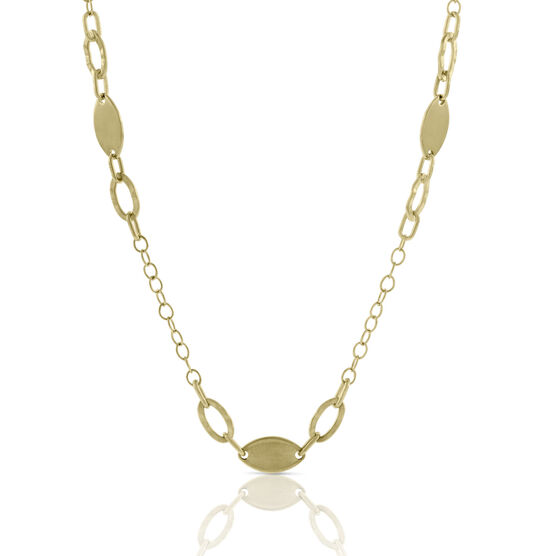 Oval Link Station Necklace 14K