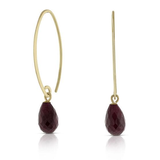 Briolette Cut Ruby Earrings 14K