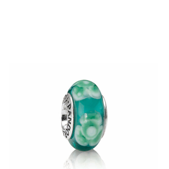 PANDORA Flowers For You Teal Charm RETIRED