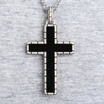 Onyx Men's Cross Necklace in Sterling Silver