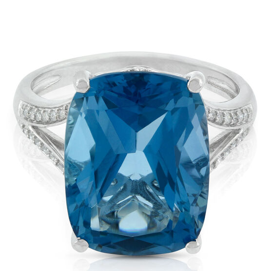 Cushion Blue Topaz & Diamond Cocktail Ring in White Gold 14K