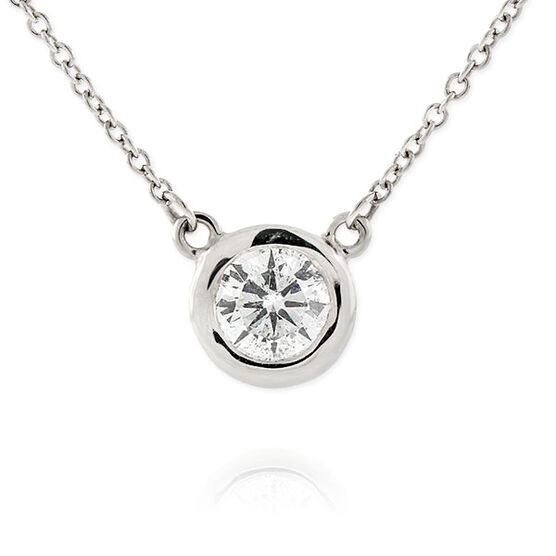 Diamond Solitaire Necklace 14K