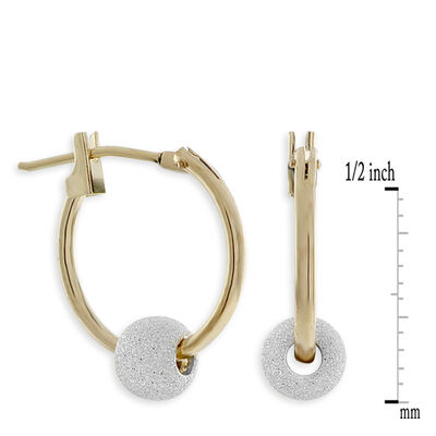 Bead Hoop Earrings in Sterling Silver & 14K