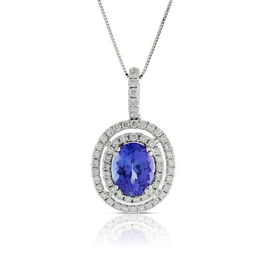 Double Halo Tanzanite & Diamond Pendant 14K