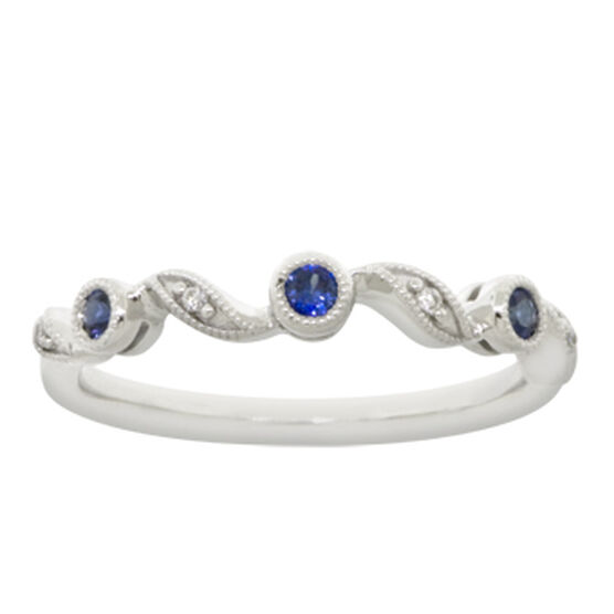Sapphire & Diamond Stackable Ring 14K