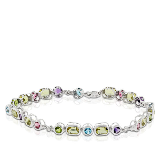 Multi Gemstone & Diamond Bracelet 14K