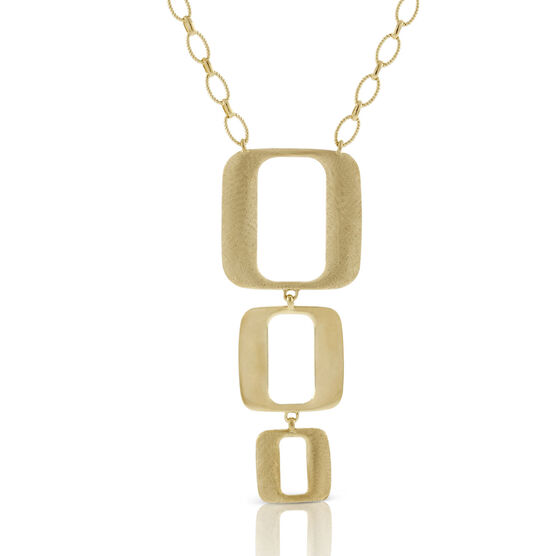 Toscano Collection Triple Open Geometric Drop Necklace 18K