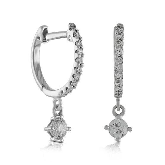 Dangle Hoop Diamond Earrings 14K