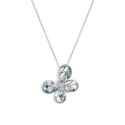 Gemstone & Diamond Butterfly Pendant 14K