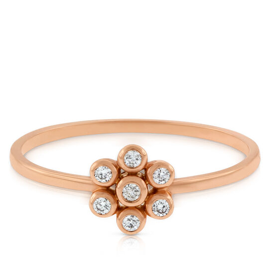 Rose Gold Floral Diamond Ring 14K