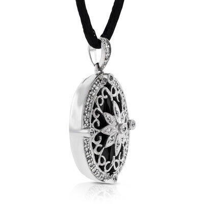 Black Agate & Diamond Filigree Locket 14K