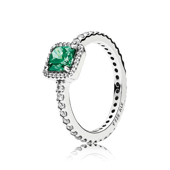 PANDORA Timeless Elegance Green Gem & CZ  Ring