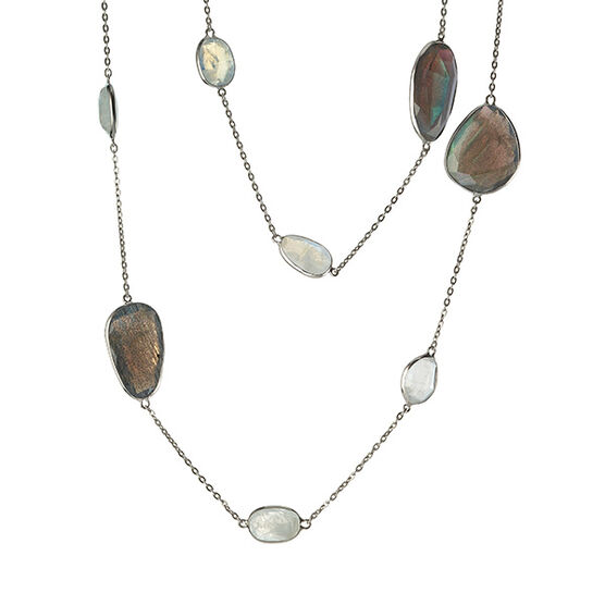 Lisa Bridge Labradorite & Moonstone Station Necklace in Sterling Silver
