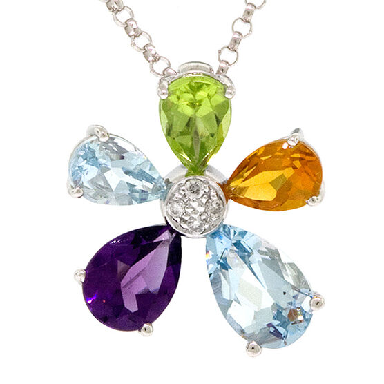 Flower Gemstone & Diamond Pendant 14K