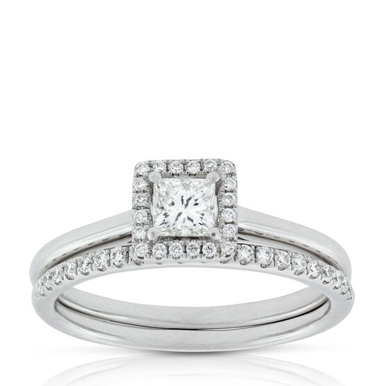 Princess Cut Diamond Halo Bridal Set 14K