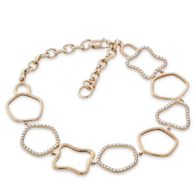 Rose Gold Diamond Multi-Shape Bracelet 14K