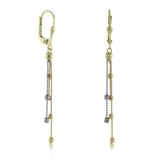 Tri-Color Dangle Bead Earrings 14K