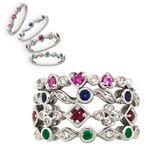 Sapphire & Diamond Stackable Ring 14K