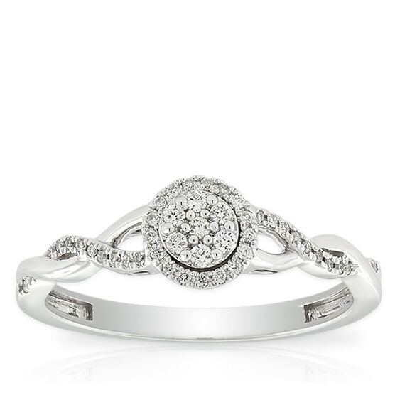 Pavé Diamond Halo Ring 14K