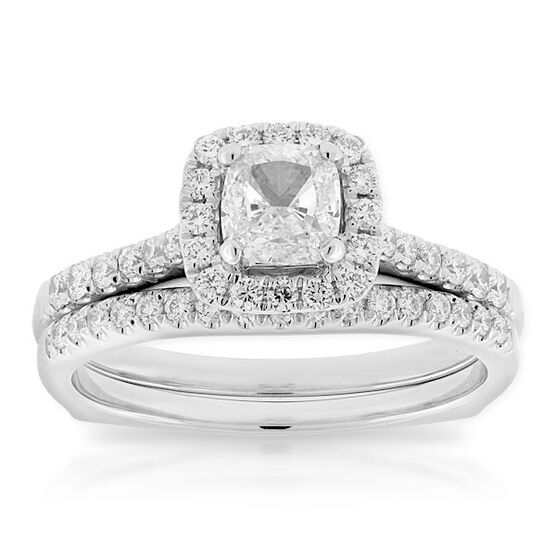 Ikuma Canadian Diamond Cushion Cut Bridal Set 14K