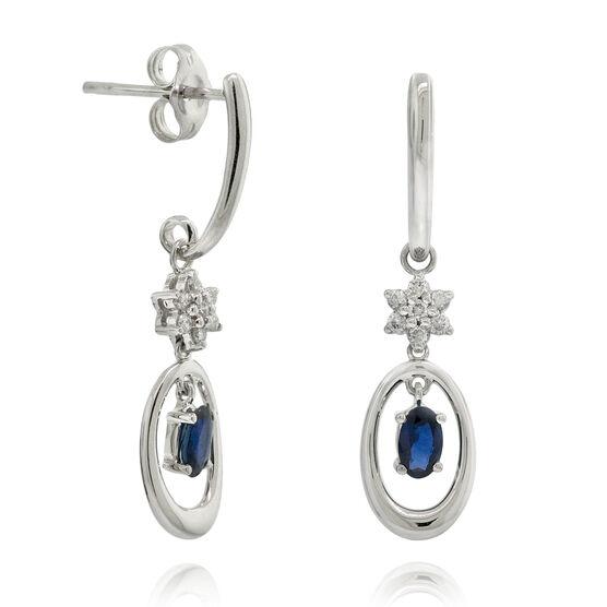 Sapphire & Diamond Circle Drop Earrings 14K