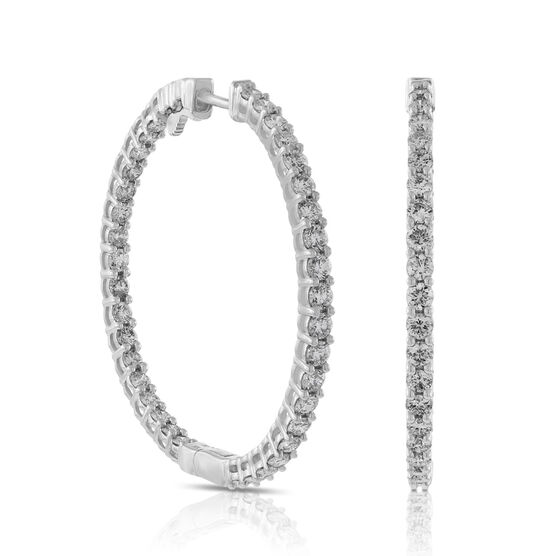 Inside Outside Style Diamond Hoop Earrings 14K