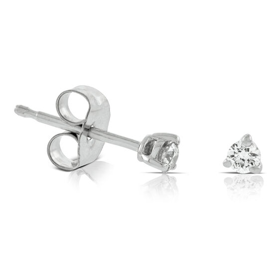 Tiny Diamond Solitaire Earrings 14K