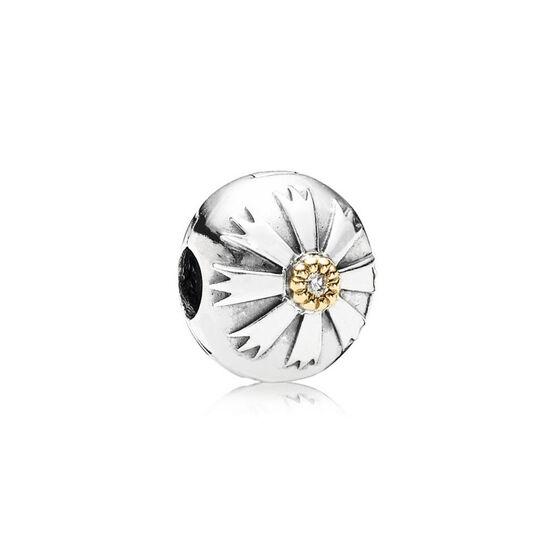 PANDORA Friendship Flower CZ Clip, Silver & 14K