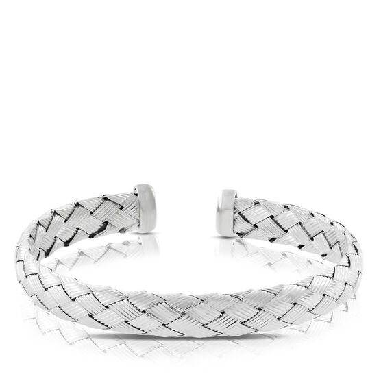 Basketweave Bangle in Sterling Silver