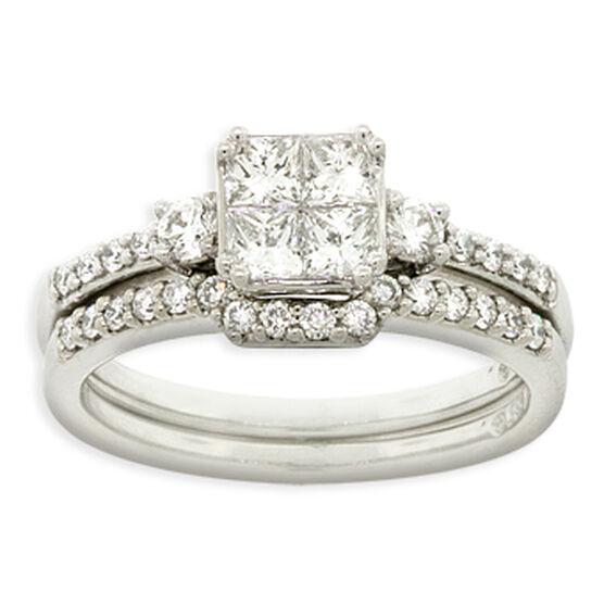 Four Diamond Wedding Set 14K
