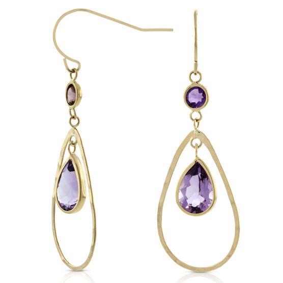 Amethyst Earrings 14K