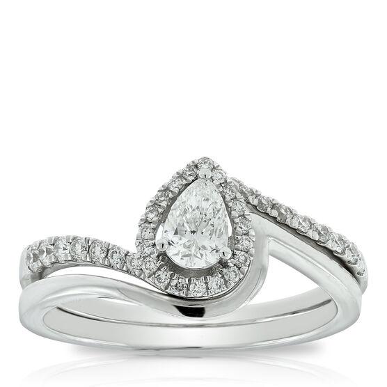 Pear Diamond Wedding Set 14K