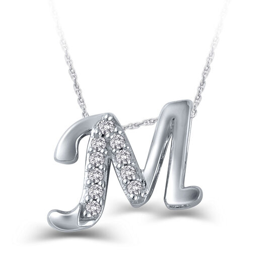 "Diamond ""M"" Initial Pendant 14K"