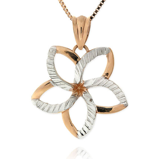 Rose Gold Flower Pendant 14K