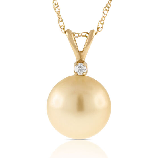 Golden South Sea Cultured Pearl & Diamond Pendant 14K
