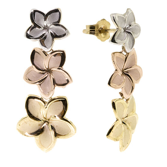 Plumeria Drop Earrings 14K