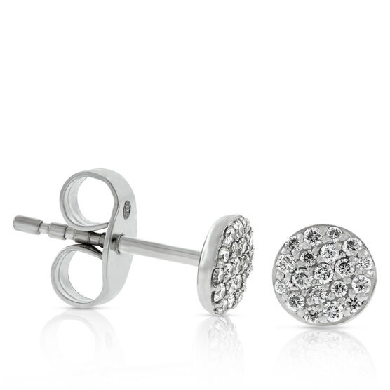 Pavé Diamond Circle Diamond Stud Earrings 14K
