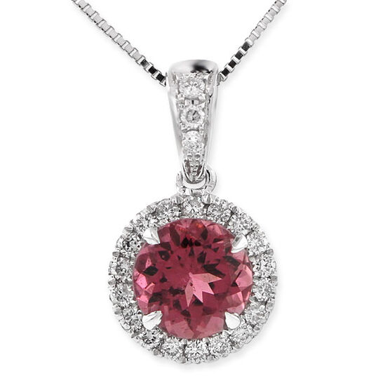 Pink Tourmaline & Diamond Pendant 14K