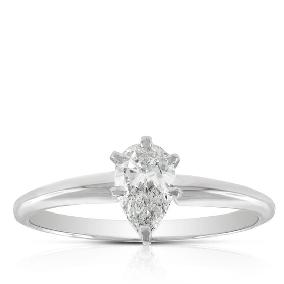 Pear Cut Solitaire Ring 14K, 1/2 ct.