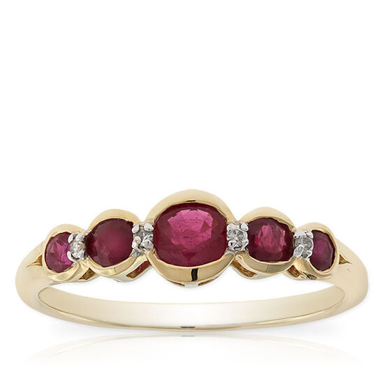 Five Stone Ruby & Diamond Ring 14K
