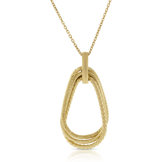 Toscano Triple Textured Drop Pendant 18K