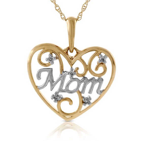 Diamond Heart 'Mom' Pendant 14K