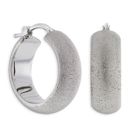 Domed Hoop Earrings in Sterling Silver