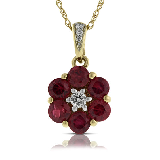 Ruby & Diamond Flower Pendant 14K