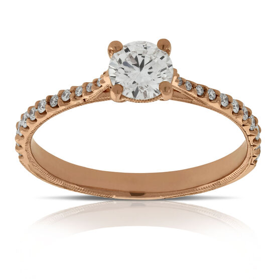 Rose Gold Diamond Engagement Ring 14K