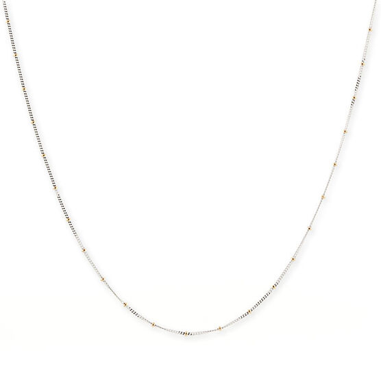 """Flat Curb Chain with Bead Stations 14K, 20"""""""